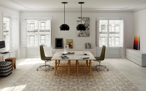 Garnish with hydraulic tile floors